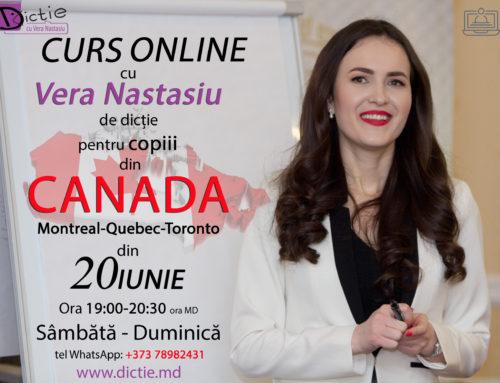 Din 20 IUNIE începem un NOU CURS de DICȚIE ONLINE pentru COPIII din CANADA